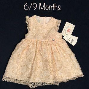 NWT Marmellata Peach Lace Dress • Size 6-9 month